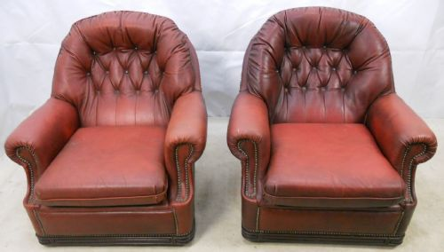 Pair Red Leather Tub Armchairs